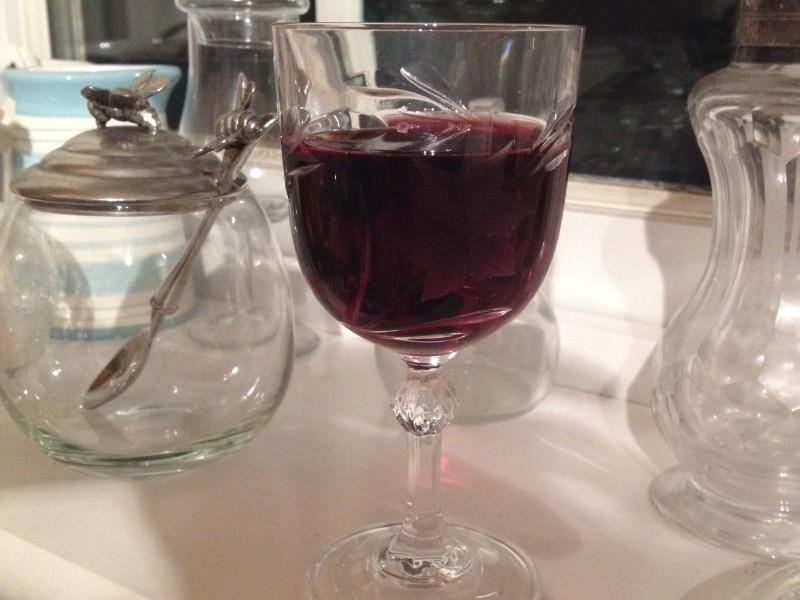 A glass of homemade sloe gin