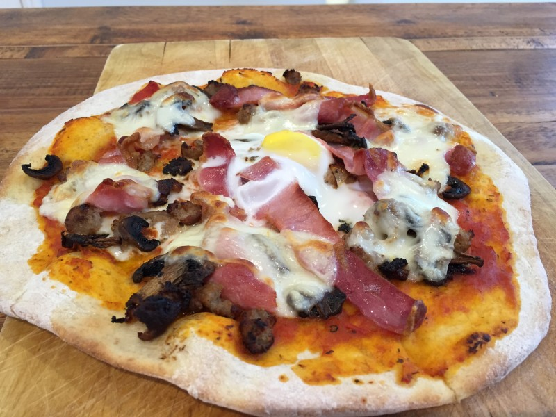 Picture of homemade breakfast pizza